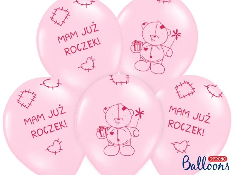 Balony na roczek dla dziewczynki