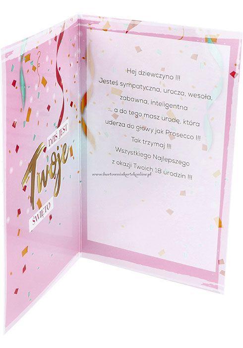kartka na 18 urodziny damska tekst