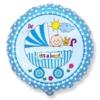 Okrągły niebieski foliowy balon z napisem It's a boy