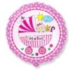 "Okrągły różowy balon z napisem ""It's a girl"""