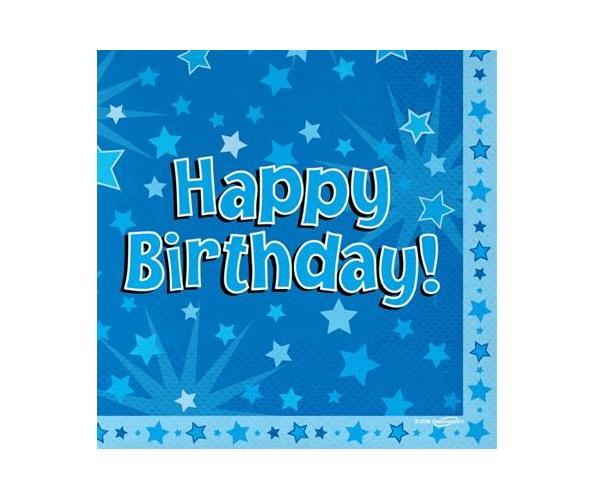 Serwetki niebieskie Happy Birthday