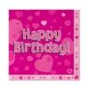 Serwetki różowe z napisem Happy Birthday