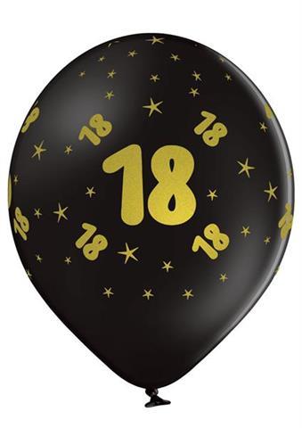 balon czarny 18 urodziny z zlotym napisem