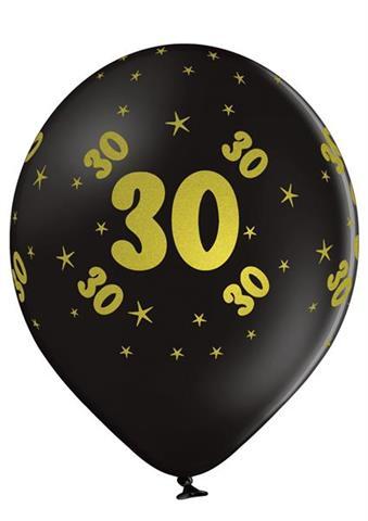 balon czarny 30 urodziny z nadrukiem zlotym