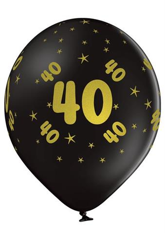 balon czarny 40 urodziny z nadrukiem zlotym
