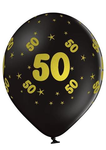 balon czarny 50 urodziny z nadrukiem zlotym