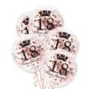 Balony przezroczyste z konfetti różowe złoto