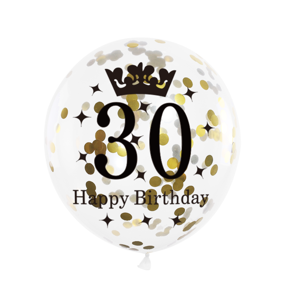 Balon-na-30-urodziny-czarno-zloty-konfetti