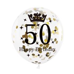 Balon-na-50-urodziny-konfetti-zlote