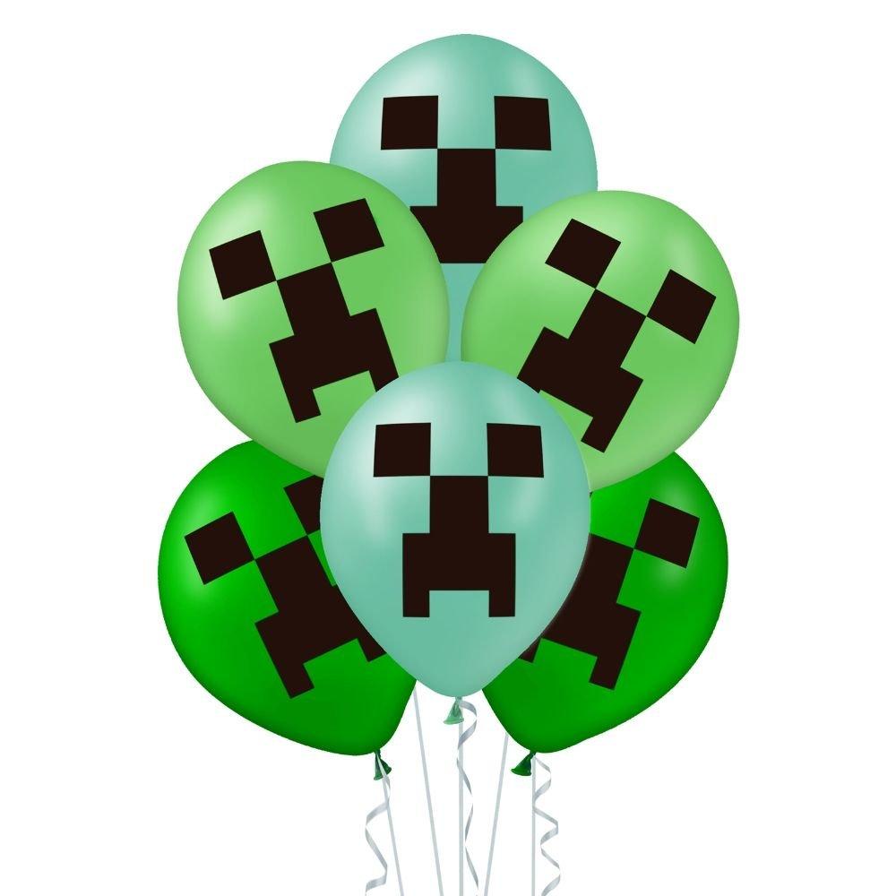 Zestaw-Balonow-zielonych-z-nadrukiem-Minecraft