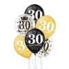 Zestaw balonów na 30-ste urodziny, złoto-czarne, konfetti