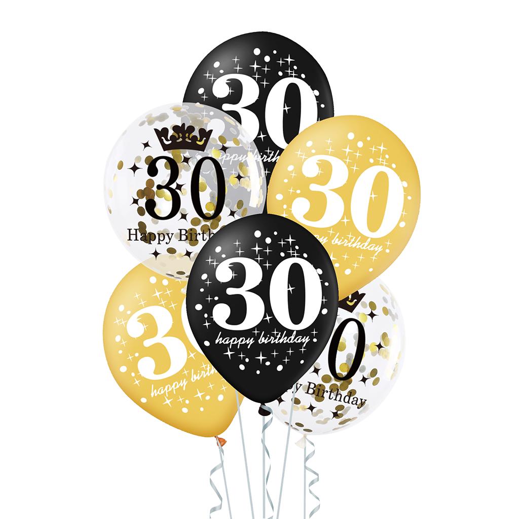 Zestaw-balonow-na-30-urodziny-czarno-zloty-konfetti-6szt