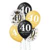 Zestaw balonów na 40 urodziny złoto-czarny, z konfetti