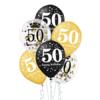 Zestaw balonów na 50 urodzny złoty - czarny z konfetti