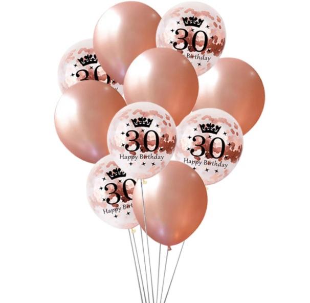 Zestaw-balony-30-urodziny-osiemnastka-Rose-Gold-konfetti