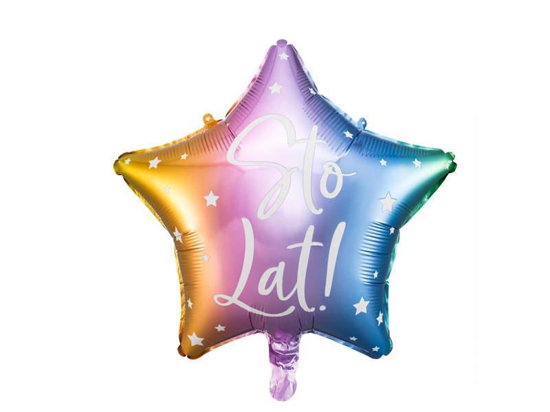 Balon-foliowy-Sto-lat-Kolorowa-gwiazda-40-cm